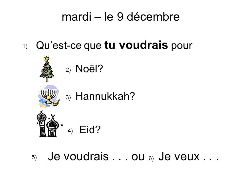 Quest-ce que tu voudrais pour 1) 2) Noël. 3) Hannukkah.