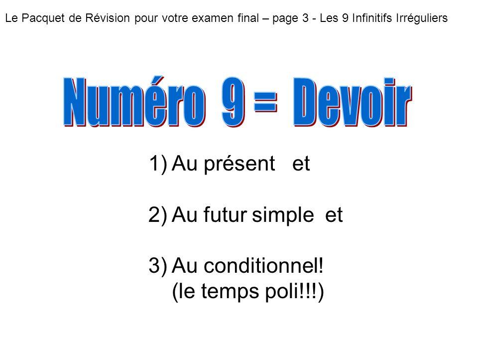 Le Pacquet de Révision pour votre examen final – page 3 - Les 9 Infinitifs Irréguliers 1) Au présent et 2) Au futur simple et 3) Au conditionnel! (le