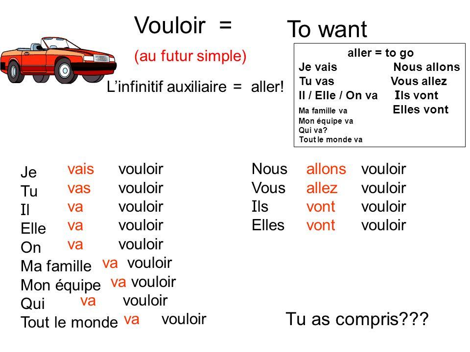 Vouloir = (au futur simple) To want Linfinitif auxiliaire = aller.