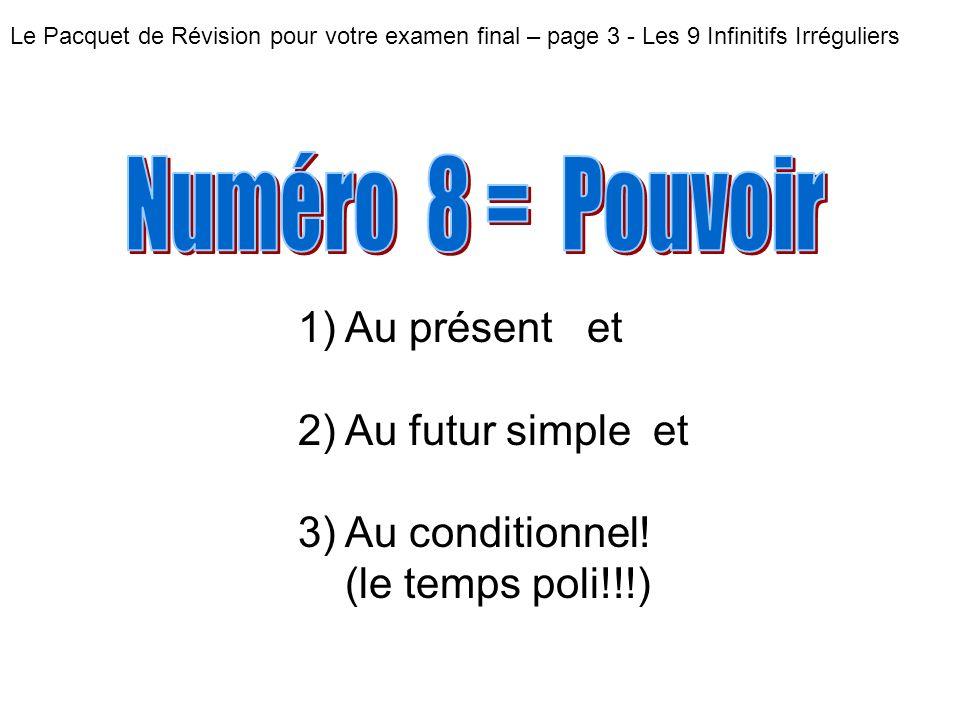 Le Pacquet de Révision pour votre examen final – page 3 - Les 9 Infinitifs Irréguliers 1) Au présent et 2) Au futur simple et 3) Au conditionnel.