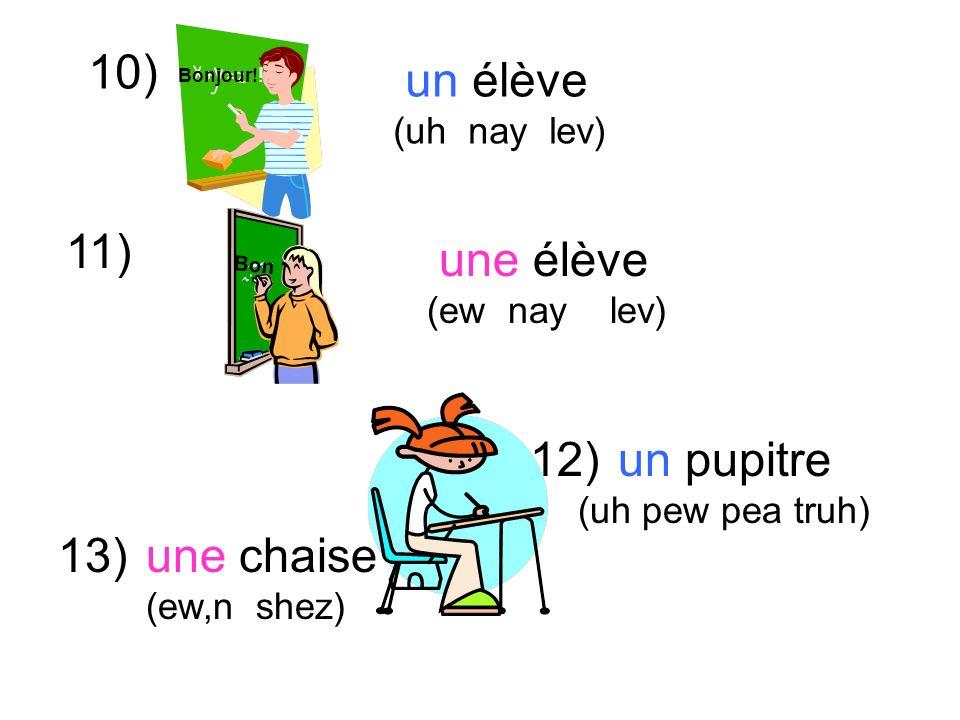 10) un pupitre (uh pew pea truh) 11) un élève (uh nay lev) 12) 13) une élève (ew nay lev) une chaise (ew,n shez) Bonjour.