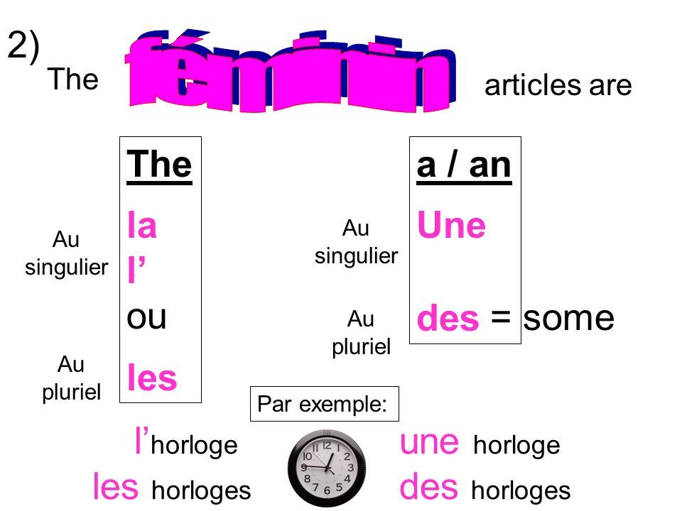 articles are The la l ou les a / an Une des Au singulier Au pluriel Au singulier Au pluriel = some Par exemple: une horloge des horloges 2) l horloge les horloges