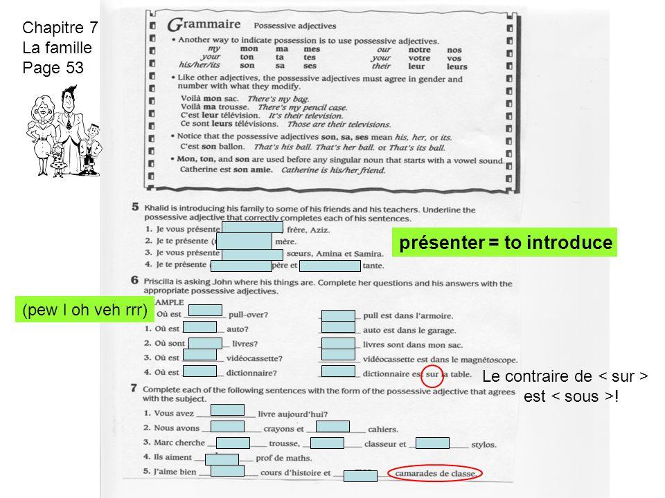 Chapitre 7 La famille Page 53 présenter = to introduce (pew l oh veh rrr) Le contraire de est !