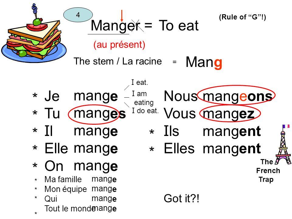 Manger = (au présent) To eat The stem / La racine = Mang 4 Je Tu I l Elle On Ma famille Mon équipe Qui Tout le monde mang e es e Nous Vous I ls Elles