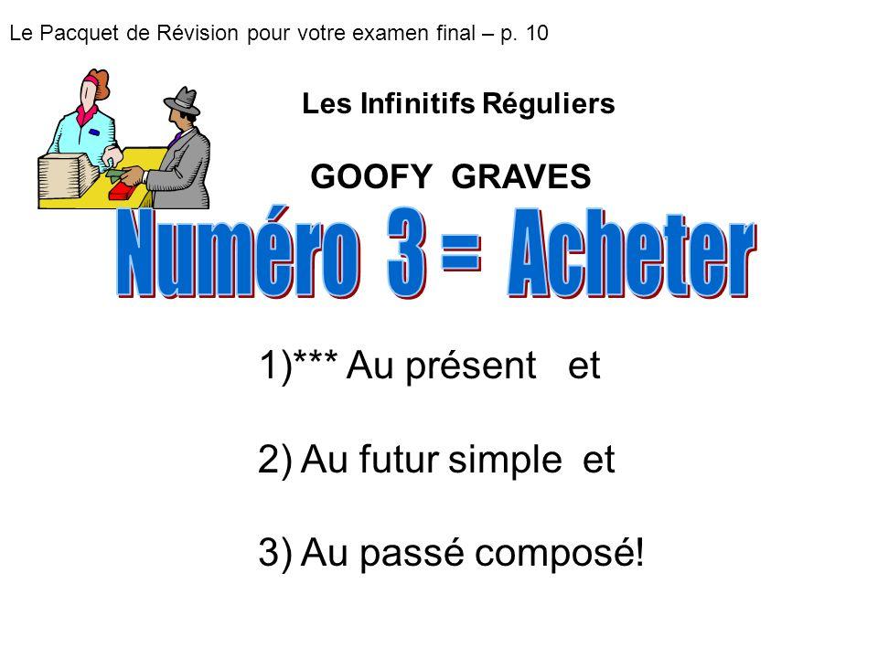 Le Pacquet de Révision pour votre examen final – p. 10 1)*** Au présent et 2) Au futur simple et 3) Au passé composé! Les Infinitifs Réguliers GOOFY G