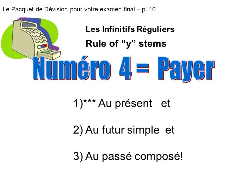 Le Pacquet de Révision pour votre examen final – p. 10 1)*** Au présent et 2) Au futur simple et 3) Au passé composé! Les Infinitifs Réguliers Rule of