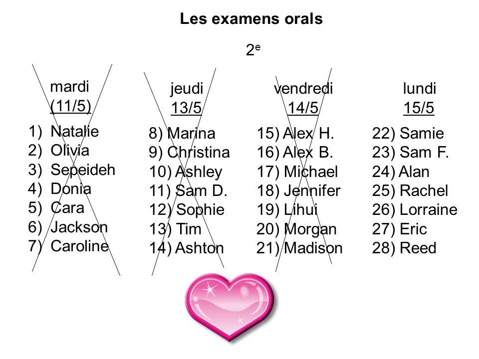 Les examens orals 2 e mardi (11/5) 1) Natalie 2) Olivia 3) Sepeideh 4) Donia 5) Cara 6) Jackson 7) Caroline jeudi 13/5 8) Marina 9) Christina 10) Ashl