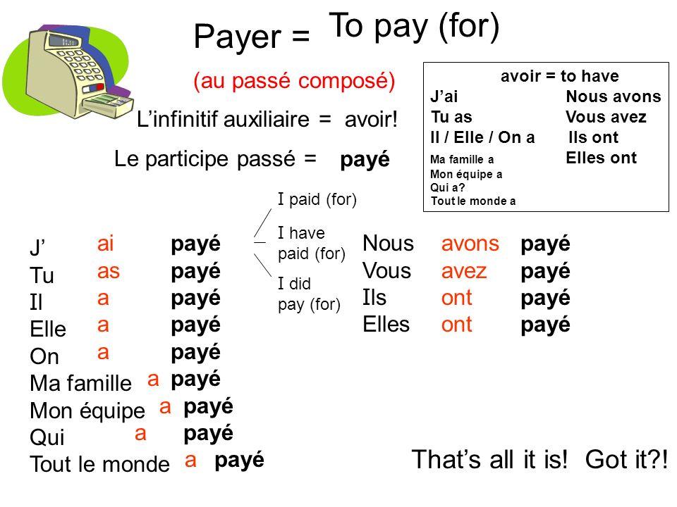 Payer = (au passé composé) To pay (for) Linfinitif auxiliaire = avoir! J Tu I l Elle On Ma famille Mon équipe Qui Tout le monde ai as a payé Nous Vous