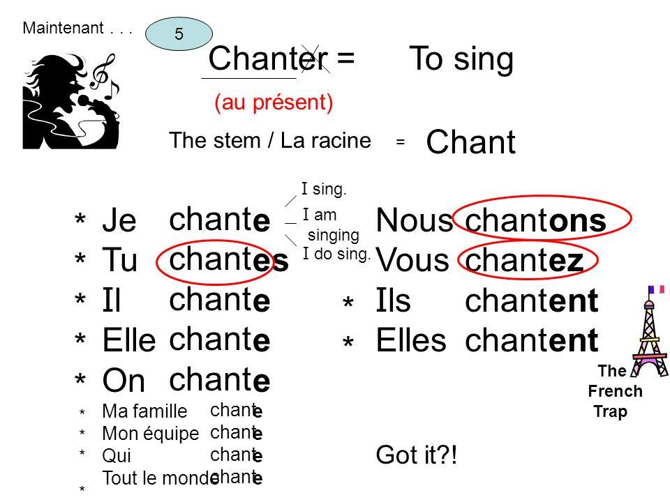 Chanter = (au présent) To sing The stem / La racine = Chant 5 Je Tu I l Elle On Ma famille Mon équipe Qui Tout le monde chant e es e Nous Vous I ls El