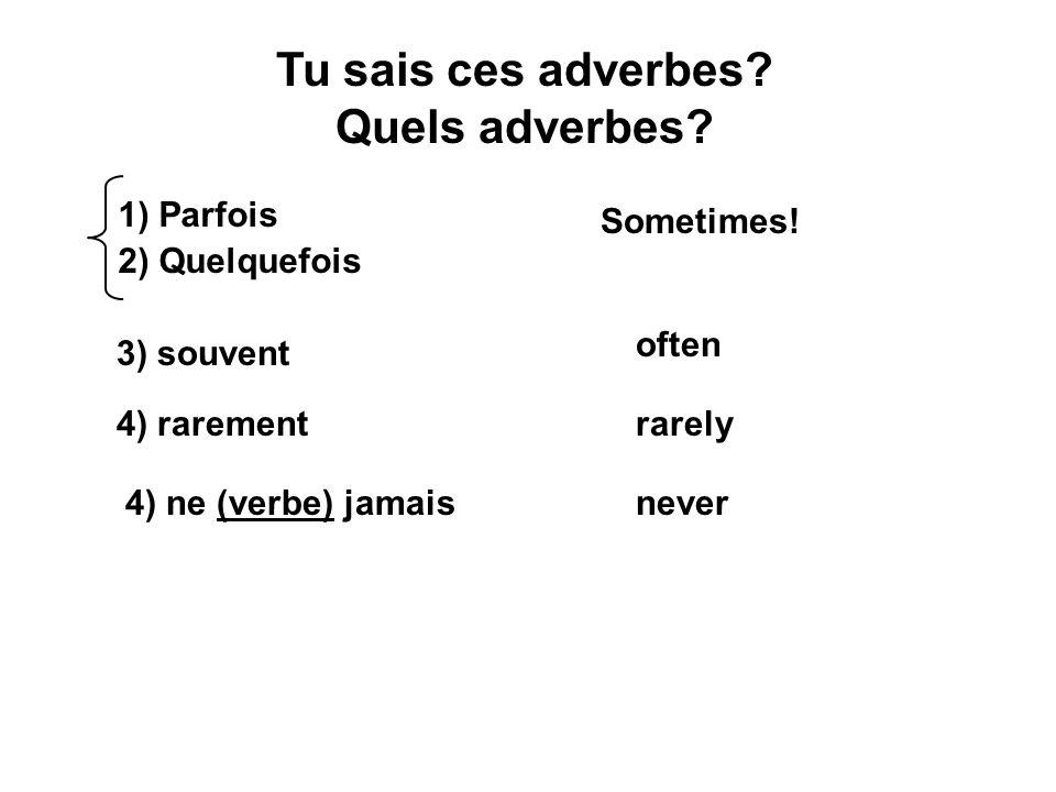 Tu sais ces adverbes? Quels adverbes? 1) Parfois 2) Quelquefois Sometimes! 3) souvent often 4) rarementrarely 4) ne (verbe) jamaisnever