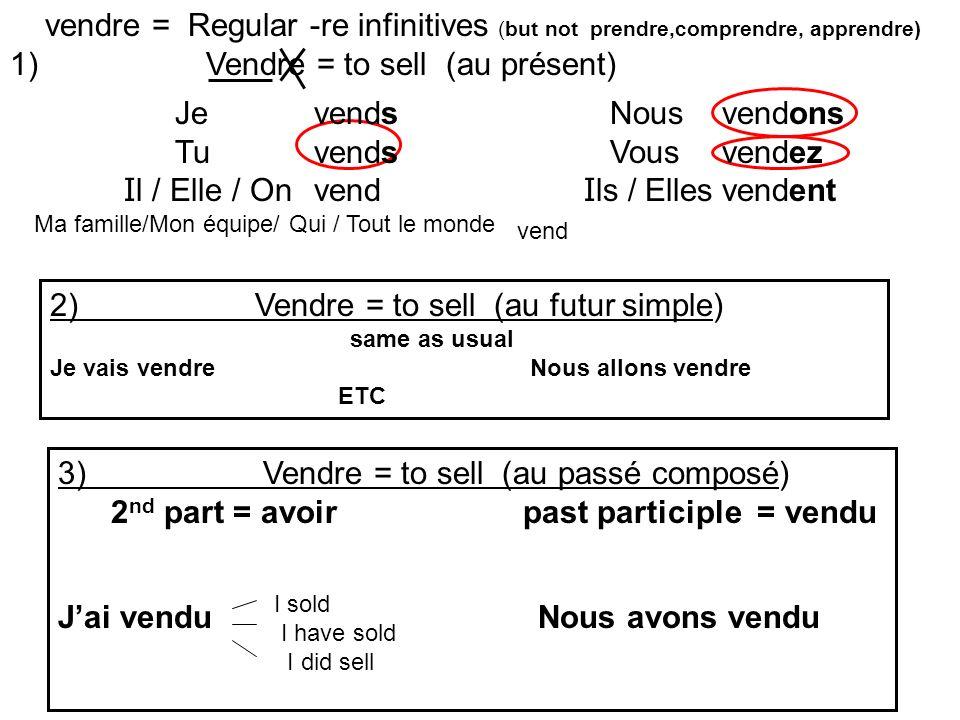 vendre = Regular -re infinitives (but not prendre,comprendre, apprendre) 1) Vendre = to sell (au présent) 2) Vendre = to sell (au futur simple) same a