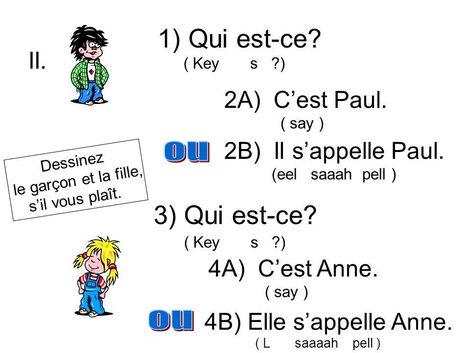 II. 1) Qui est-ce? ( Key s ?) 2A) Cest Paul. ( say ) 2B) Il sappelle Paul. (eel saaah pell ) 3) Qui est-ce? ( Key s ?) 4A) Cest Anne. ( say ) 4B) Elle