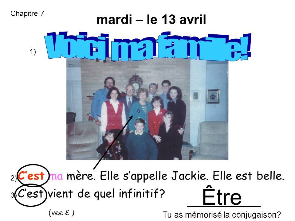 jeudi – le 20 mars Cest ma mère.Elle sappelle Jackie.