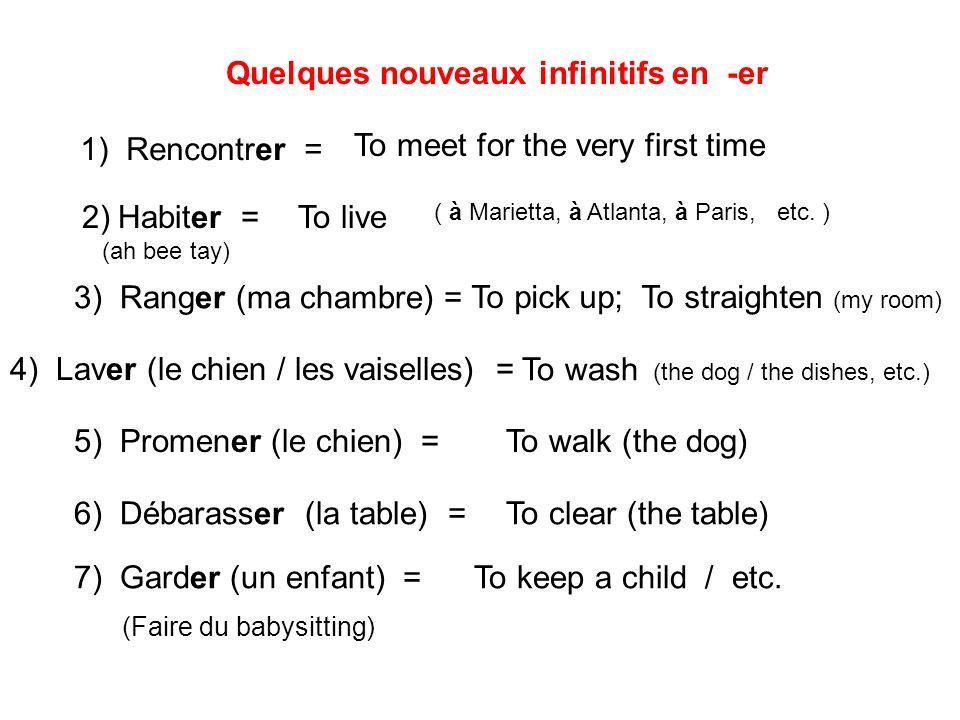 Quelques nouveaux infinitifs en -er 1) Rencontrer = To meet for the very first time 2)Habiter = (ah bee tay) To live ( à Marietta, à Atlanta, à Paris,