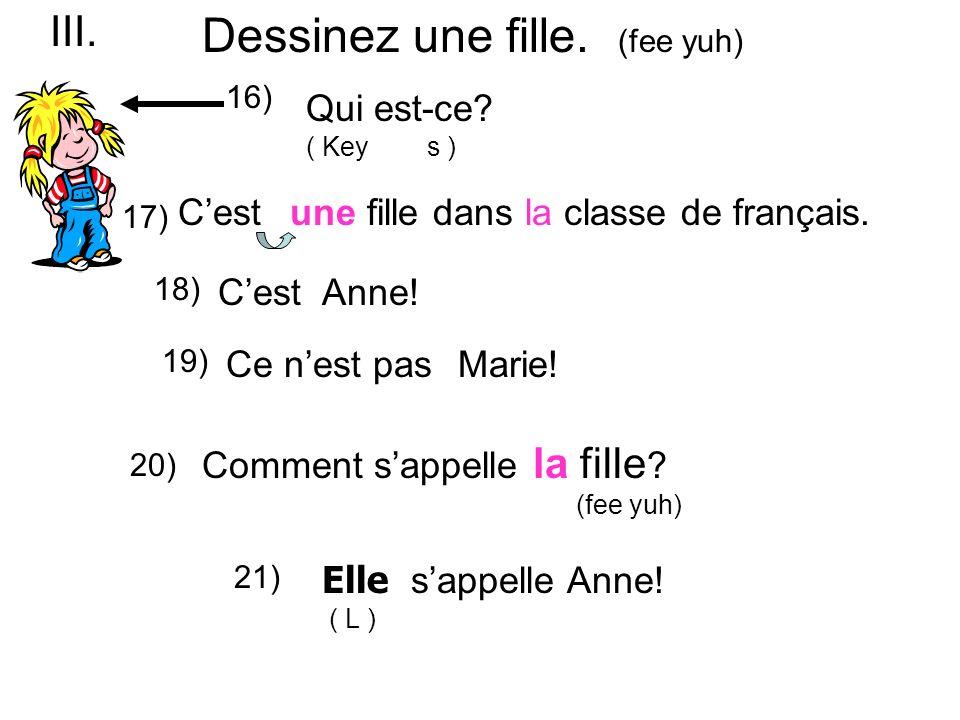 Qui est-ce. ( Key s ) une fille dans la classe de français.Cest 17) 16) CestAnne.
