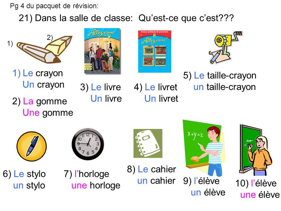 21) Dans la salle de classe: Quest-ce que cest??.