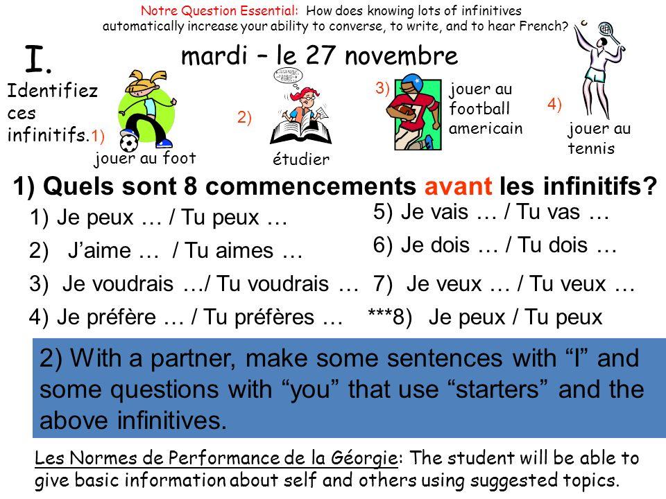 mardi – le 27 novembre 2) Faites des phrases et des questions avec ces commencements et ces 4 infinitifs avec votre partinaire.