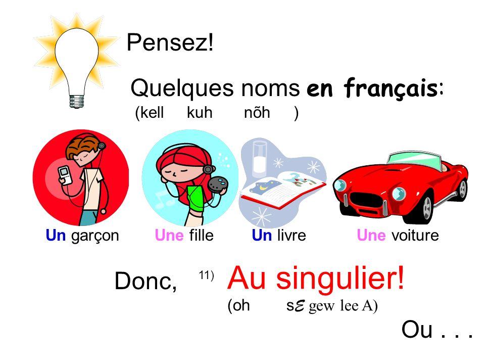 Pensez.Quelques noms en français: (kell kuh nõh ) Donc, Au singulier.