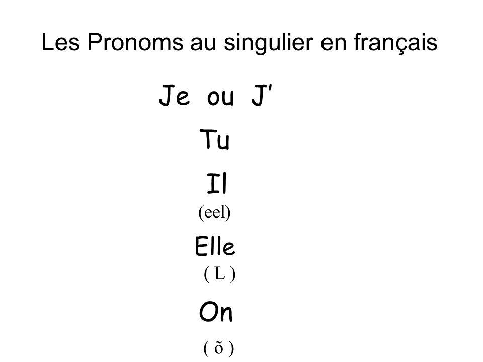 Les Pronoms au singulier en français Je ou J Tu Il (eel) Elle ( L ) On ( õ )