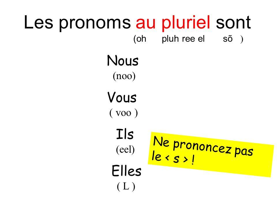 Les pronoms au pluriel sont (oh pluh ree el sõ ) Nous (noo) Vous ( voo ) Ils (eel) Elles ( L ) Ne prononcez pas le !