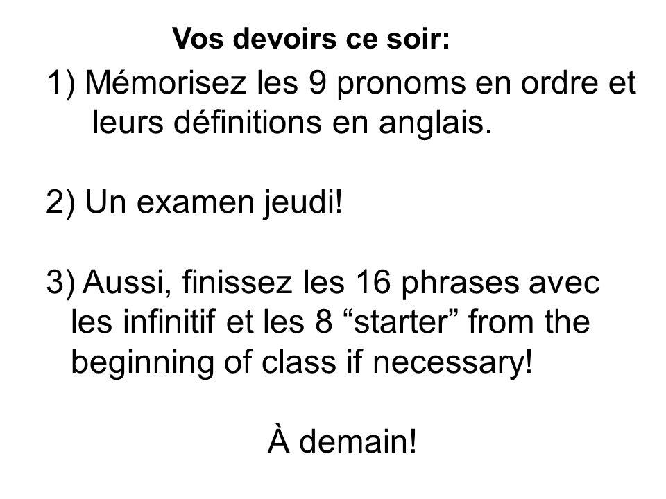 Vos devoirs ce soir: 1) Mémorisez les 9 pronoms en ordre et leurs définitions en anglais.