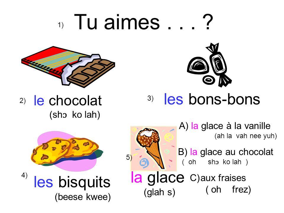 Tu aimes... ? le chocolat (sh ɔ ko lah) les bons-bons la glace (glah s) les bisquits (beese kwee) 1) 2) 3) 4) 5) A) la glace à la vanille (ah la vah n