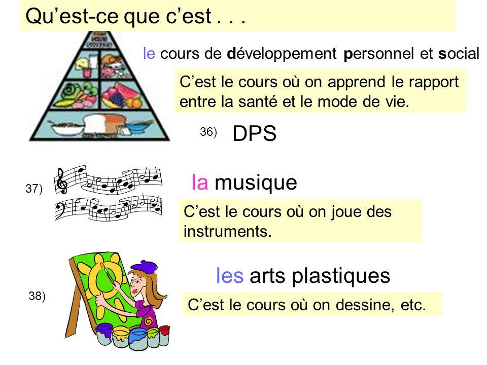 DPS 35) 36) 37) la musique 38) les arts plastiques Cest le cours où on apprend le rapport entre la santé et le mode de vie. Cest le cours où on joue d
