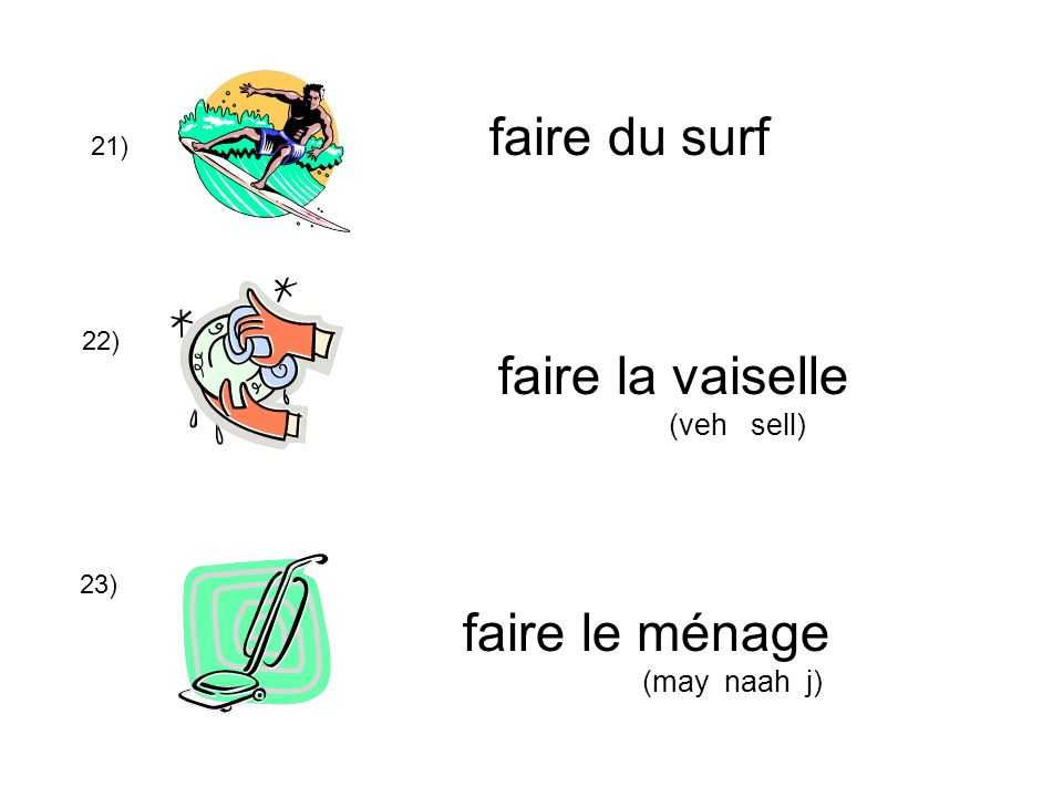 21) 22) 23) faire du surf faire la vaiselle (veh sell) faire le ménage (may naah j)