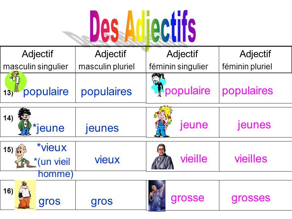 Adjectif masculin singulier Adjectif masculin pluriel Adjectif féminin singulier Adjectif féminin pluriel 13) populaire populaires populaires populair