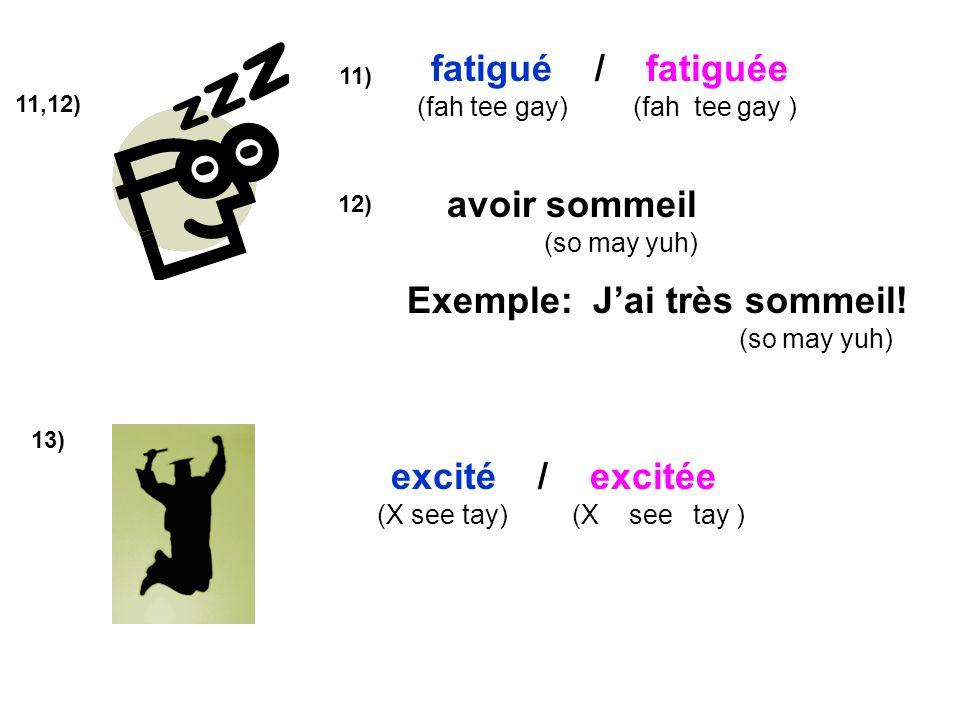 11,12) avoir sommeil (so may yuh) fatigué / fatiguée (fah tee gay) (fah tee gay ) 11) 12) Exemple: Jai très sommeil! (so may yuh) 13) excité / excitée