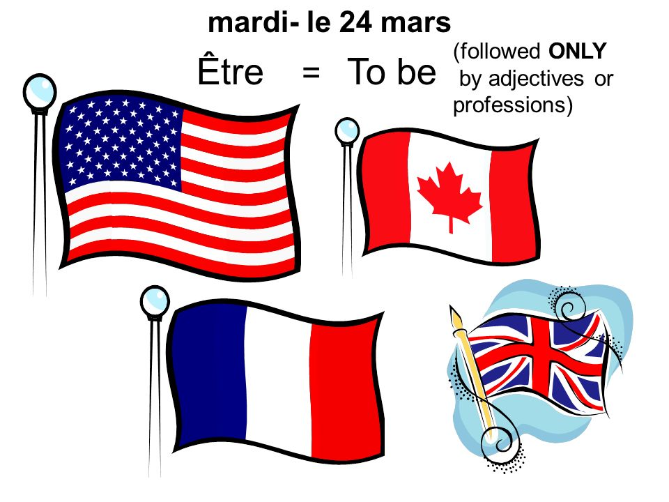 Être = To be mardi- le 24 mars (followed ONLY by adjectives or professions)