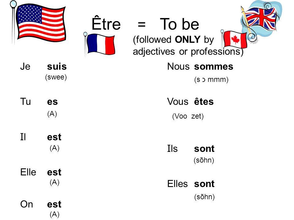Être = To be Je Tu I l Elle On Nous Vous I ls Elles suis es est sommes êtes sont (swee) (A) (s כ mmm) (Voo zet) (sõhn) (followed ONLY by adjectives or