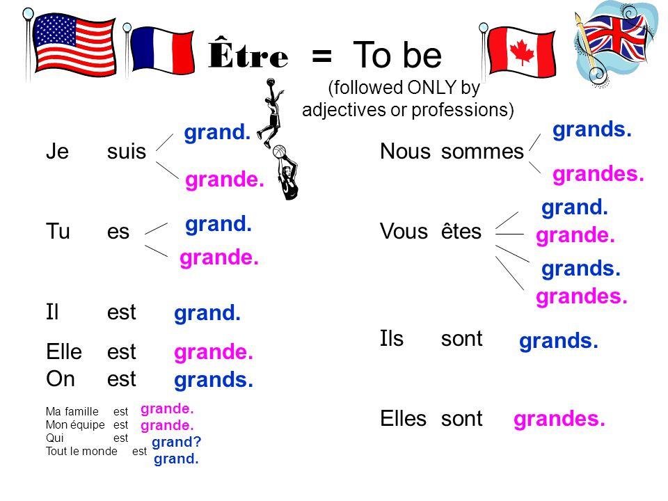 Être = To be (followed ONLY by adjectives or professions) Je Tu I l Elle On Ma famille Mon équipe Qui Tout le monde Nous Vous I ls Elles suis es est s