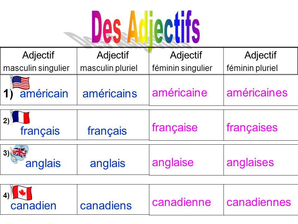 Adjectif masculin singulier Adjectif masculin pluriel Adjectif féminin singulier Adjectif féminin pluriel 1) américain américaines américains américai
