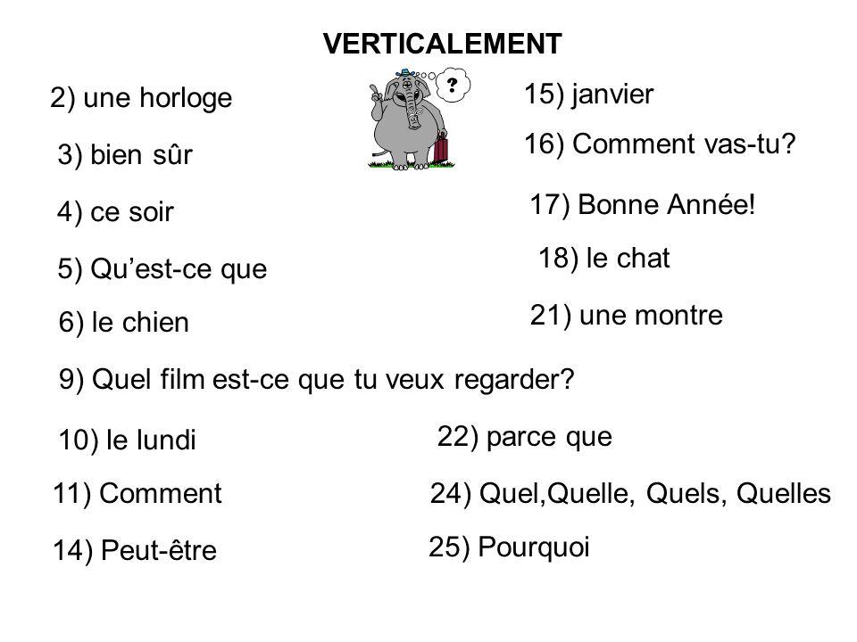 VERTICALEMENT 2) une horloge 3) bien sûr 4) ce soir 5) Quest-ce que 6) le chien 9) Quel film est-ce que tu veux regarder.