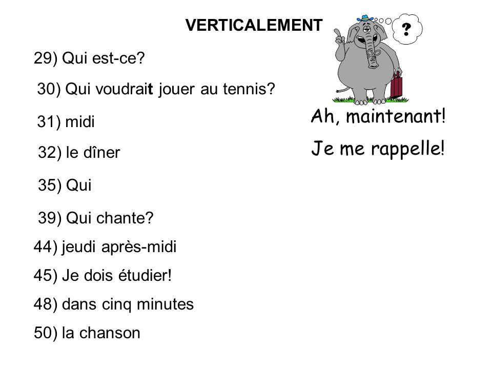 VERTICALEMENT 29) Qui est-ce. 30) Qui voudrait jouer au tennis.