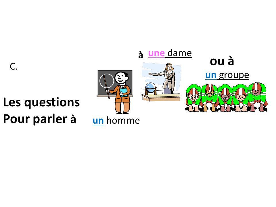 Les questions Pour parler à Monsieur.Comment allez-vous, (Kɔ mõ tah lay voo ) Madame.