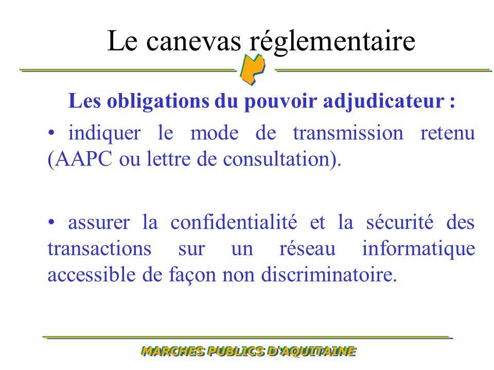 Le canevas réglementaire Les obligations du pouvoir adjudicateur : indiquer le mode de transmission retenu (AAPC ou lettre de consultation).