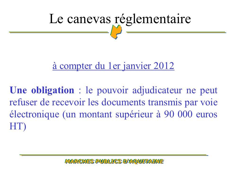 à compter du 1er janvier 2012 Une obligation : le pouvoir adjudicateur ne peut refuser de recevoir les documents transmis par voie électronique (un montant supérieur à 90 000 euros HT) Le canevas réglementaire