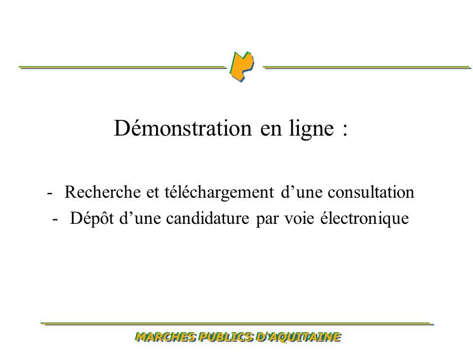 Démonstration en ligne : -Recherche et téléchargement dune consultation -Dépôt dune candidature par voie électronique