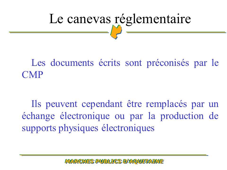 Le canevas réglementaire Les documents écrits sont préconisés par le CMP Ils peuvent cependant être remplacés par un échange électronique ou par la production de supports physiques électroniques