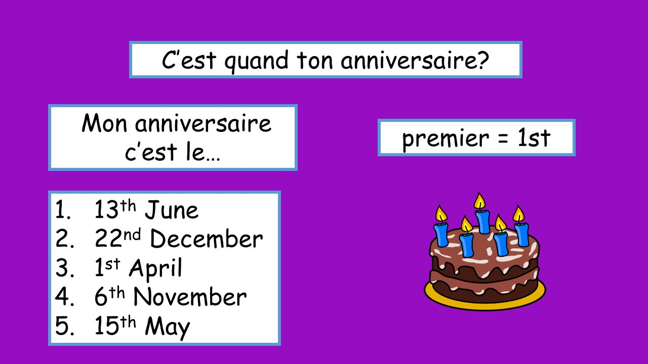 Cest quand ton anniversaire? Mon anniversaire cest le… premier = 1st 1.13 th June 2.22 nd December 3.1 st April 4.6 th November 5.15 th May