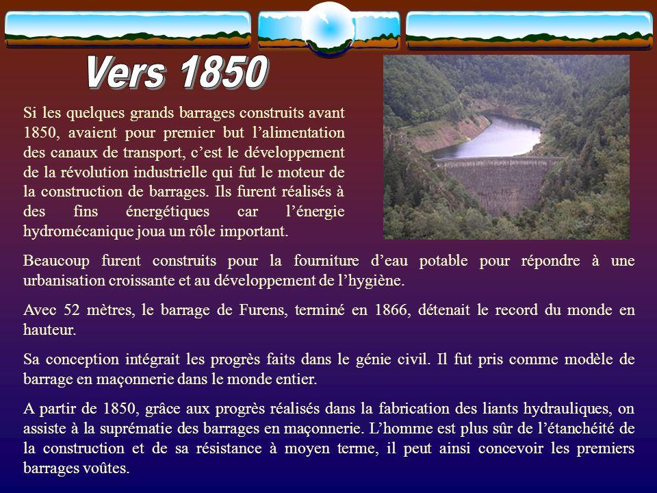 A partir de 1880, les inventions dues à lélectricité renforcèrent lintérêt de la finalité énergétique des barrages.