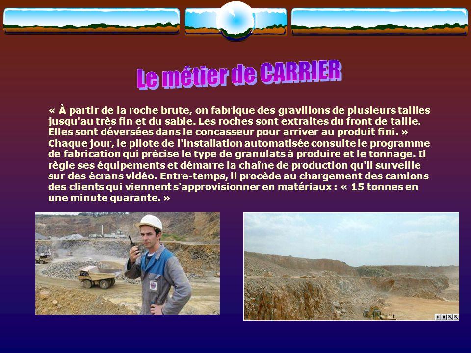 Il exécute les différents travaux d abattage, de sciage ou de débitage, manuels ou mécaniques, permettant la production et l exploitation de minerais et de roches.