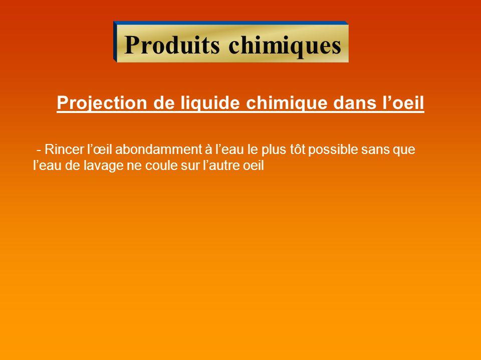 Produits chimiques Projection de liquide chimique dans loeil - Rincer lœil abondamment à leau le plus tôt possible sans que leau de lavage ne coule su