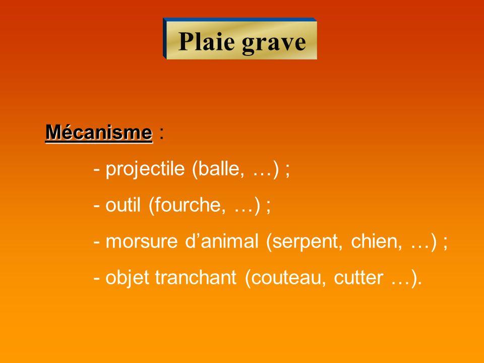 Plaie grave Mécanisme Mécanisme : - projectile (balle, …) ; - outil (fourche, …) ; - morsure danimal (serpent, chien, …) ; - objet tranchant (couteau,