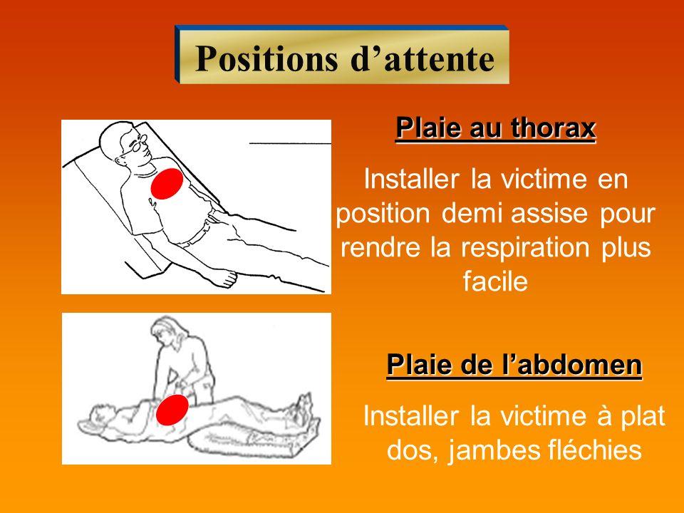 Positions dattente Plaie au thorax Installer la victime en position demi assise pour rendre la respiration plus facile Plaie de labdomen Installer la