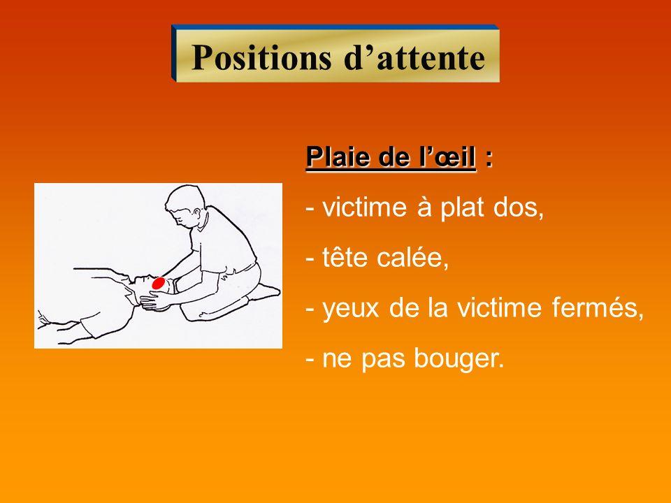 Positions dattente Plaie de lœil : - victime à plat dos, - tête calée, - yeux de la victime fermés, - ne pas bouger.