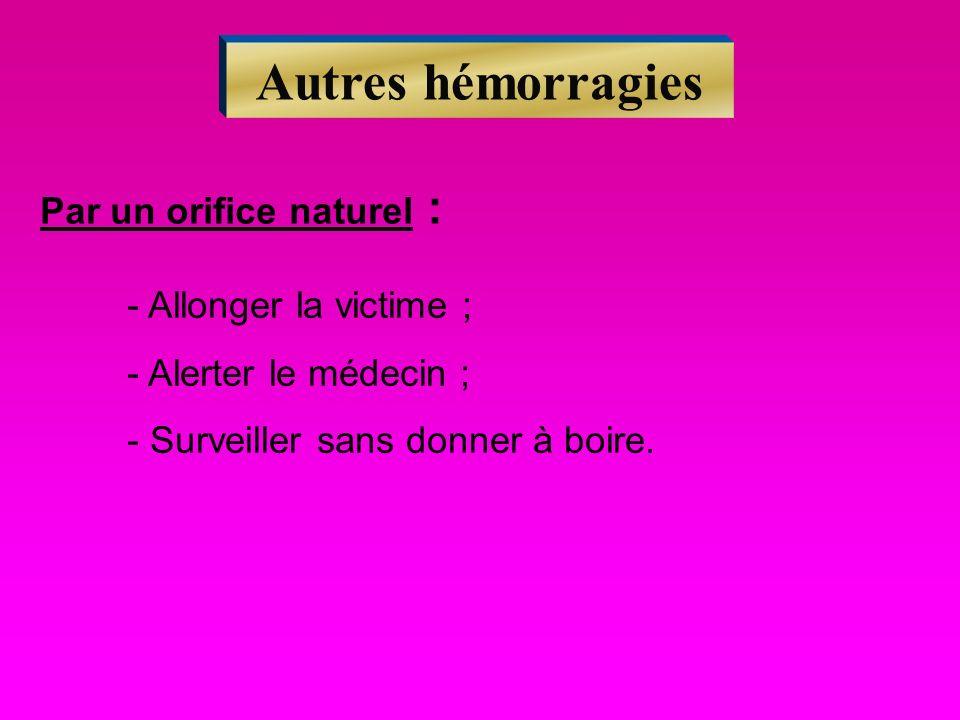 Autres hémorragies Par un orifice naturel : - Allonger la victime ; - Alerter le médecin ; - Surveiller sans donner à boire.