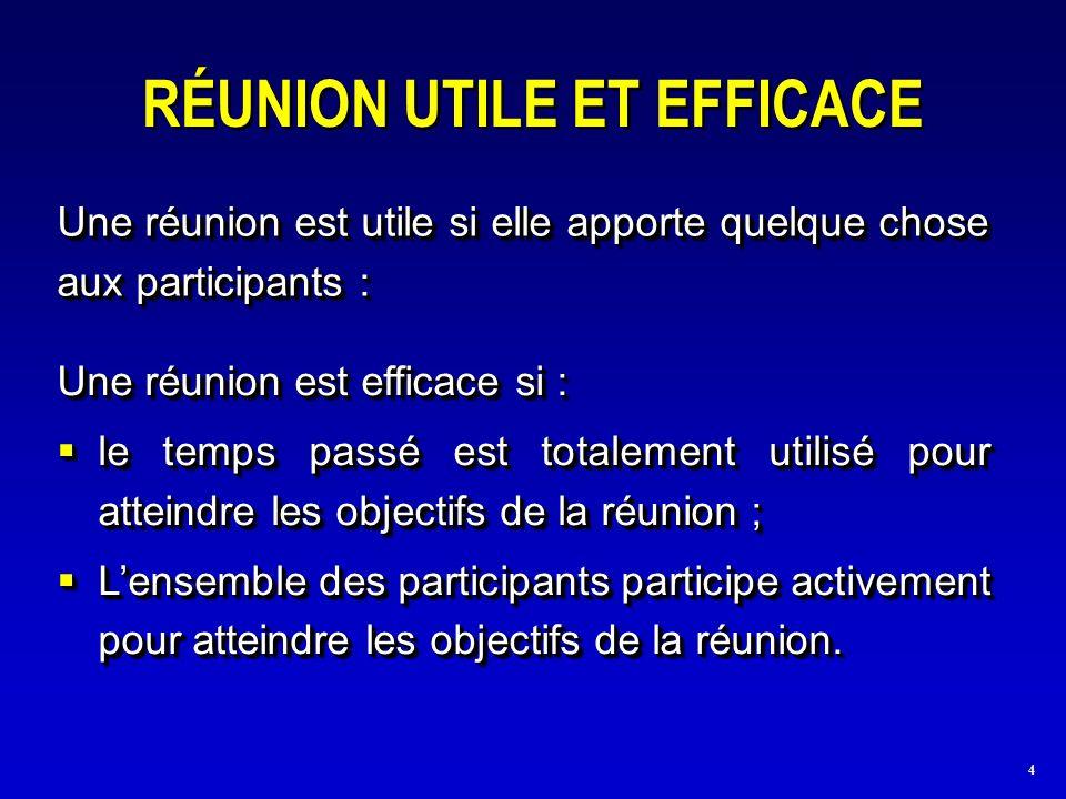 4 RÉUNION UTILE ET EFFICACE Une réunion est utile si elle apporte quelque chose aux participants : Une réunion est efficace si : le temps passé est to